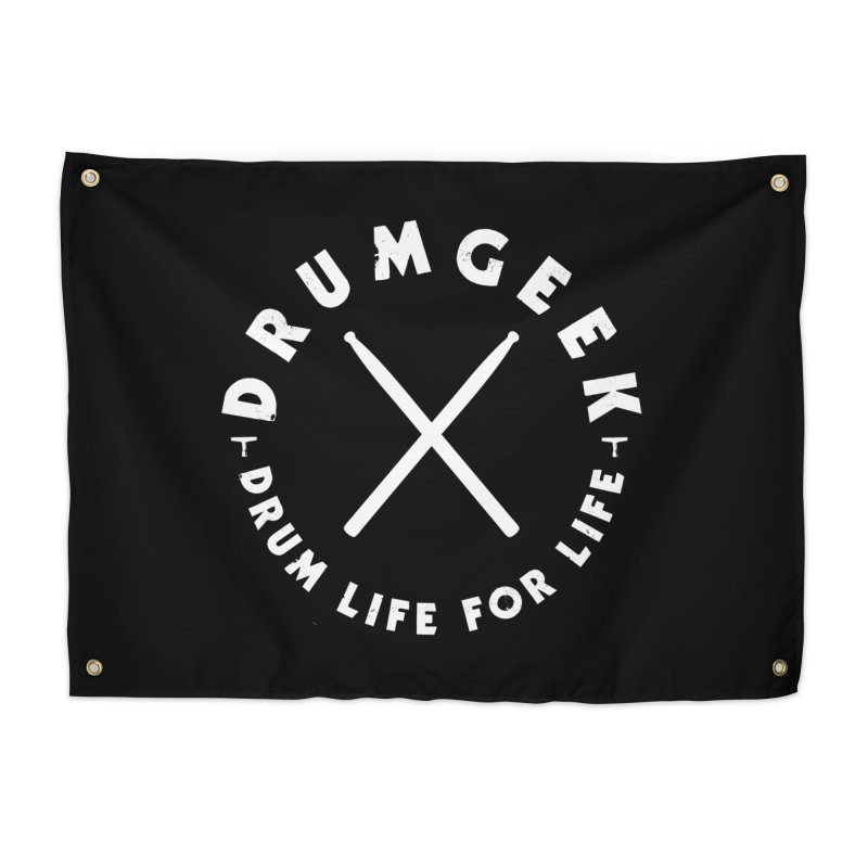 Drum Life For Life (Style 3) - White Logo Home Tapestry by Drum Geek Online Shop