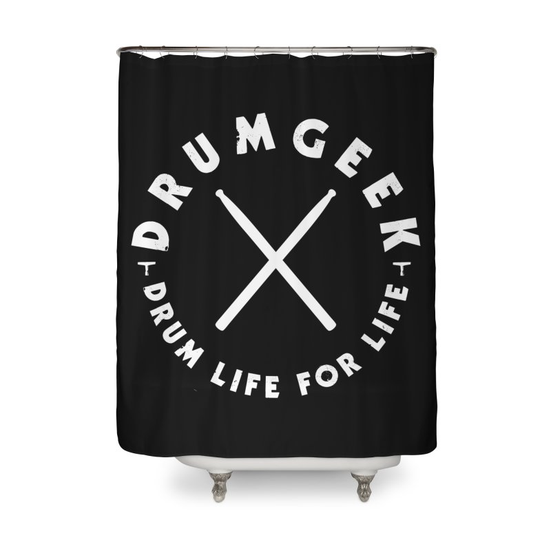 Drum Geek DLFL Logo 3 (White) Home Shower Curtain by Drum Geek Online Shop