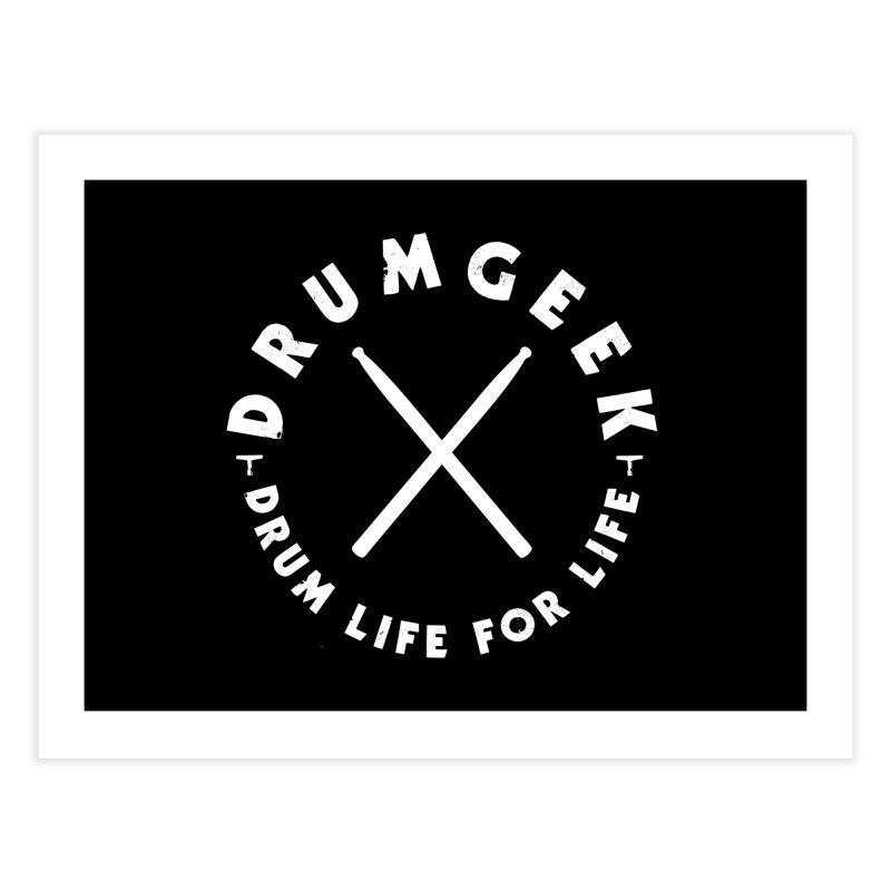 Drum Geek DLFL Logo 3 (White) Home Fine Art Print by Drum Geek Online Shop