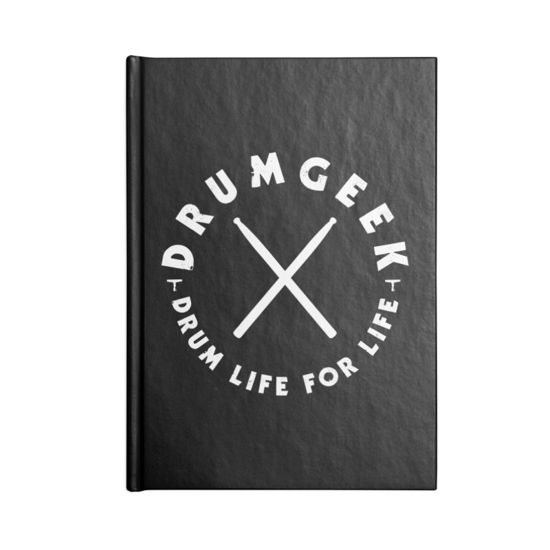 Drum Geek DLFL Logo 3 (White) Accessories Lined Journal Notebook by Drum Geek Online Shop
