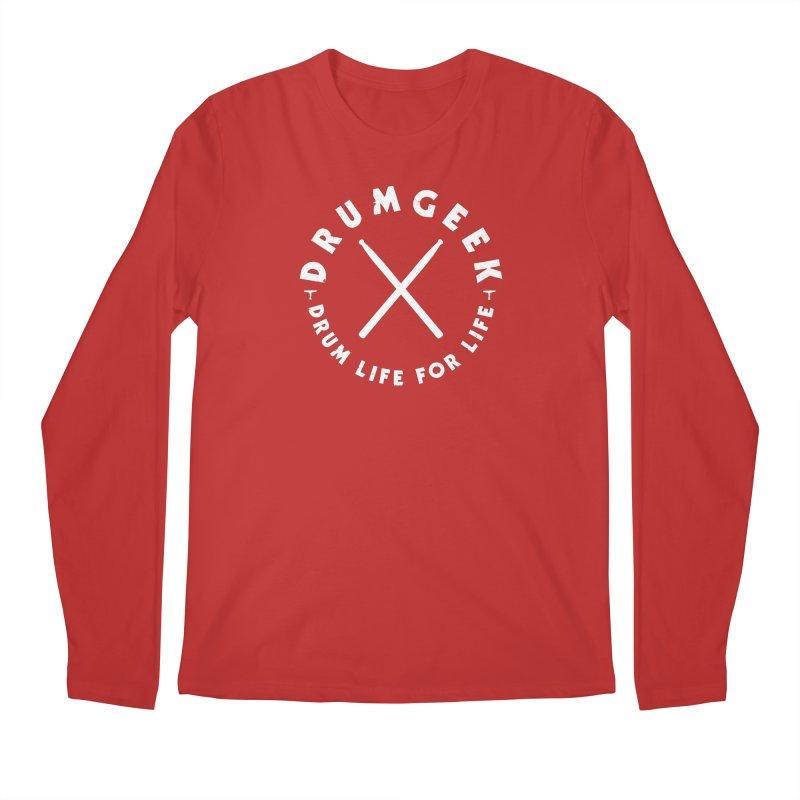 Drum Geek DLFL Logo 3 (White) Men's Longsleeve T-Shirt by Drum Geek Online Shop