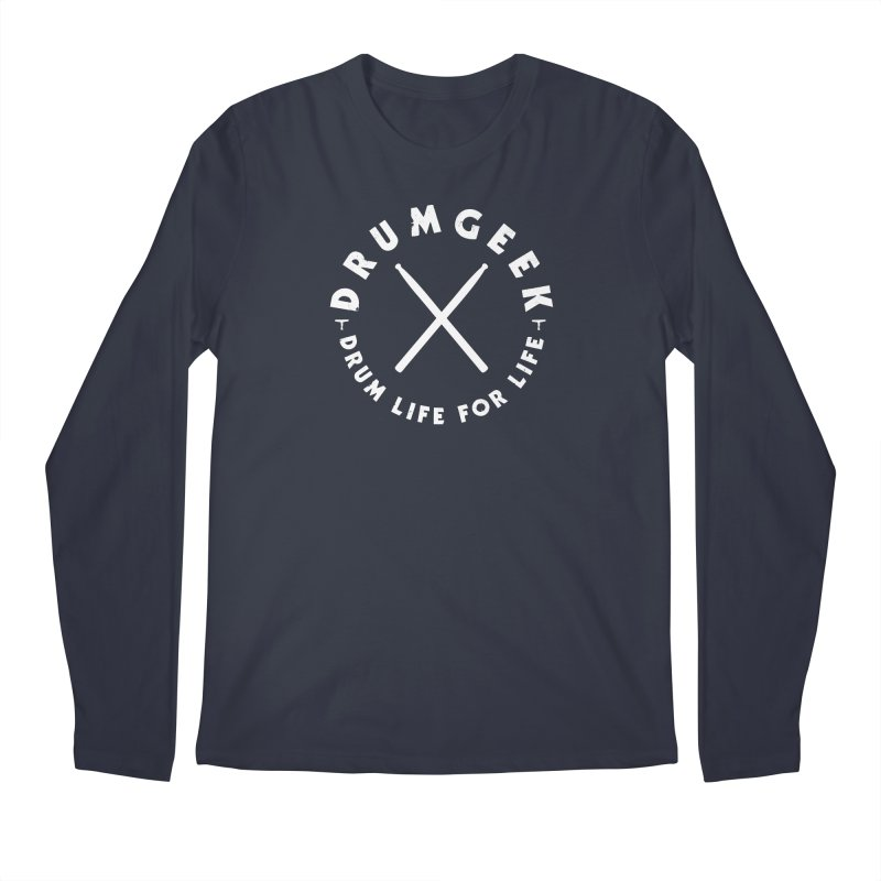 Drum Geek DLFL Logo 3 (White) Men's Regular Longsleeve T-Shirt by Drum Geek Online Shop