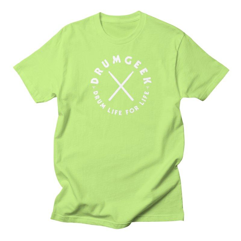 Drum Geek DLFL Logo 3 (White) Men's Regular T-Shirt by Drum Geek Online Shop