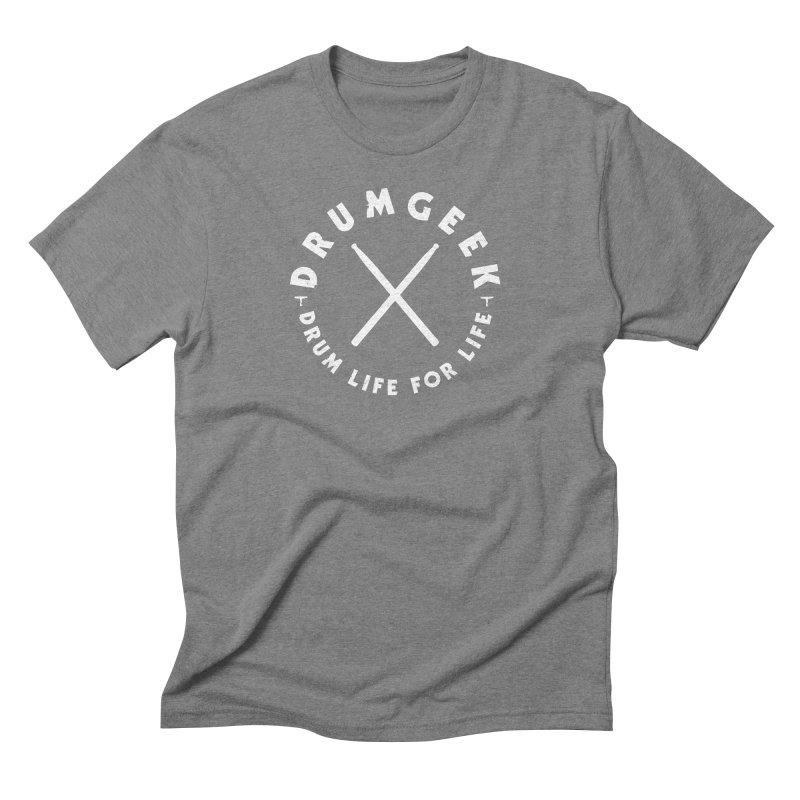 Drum Geek DLFL Logo 3 (White) Men's Triblend T-Shirt by Drum Geek Online Shop