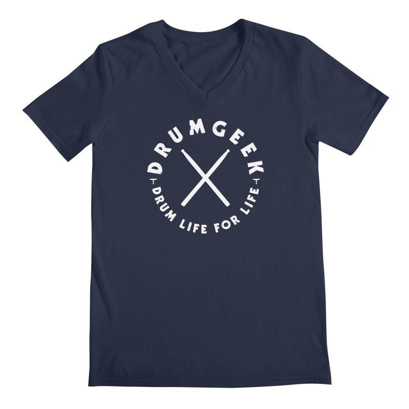 Drum Geek DLFL Logo 3 (White) Men's Regular V-Neck by Drum Geek Online Shop