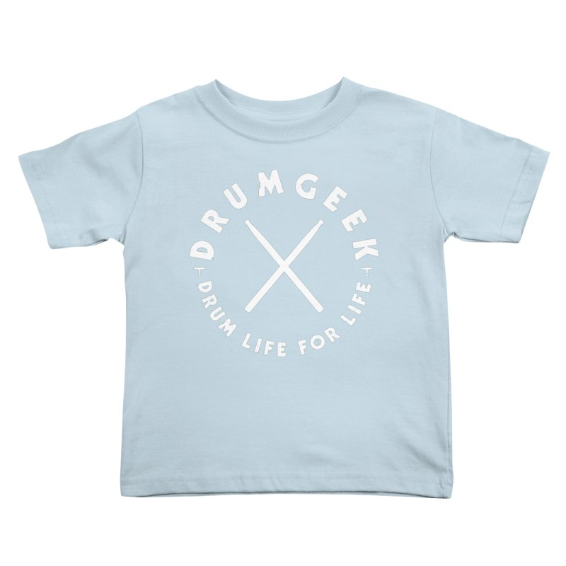 Drum Geek DLFL Logo 3 (White) Kids Toddler T-Shirt by Drum Geek Online Shop