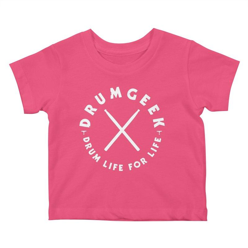 Drum Geek DLFL Logo 3 (White) Kids Baby T-Shirt by Drum Geek Online Shop