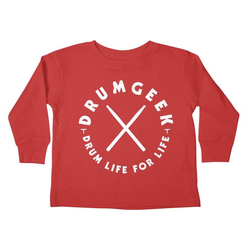 Drum Geek DLFL Logo 3 (White) Kids Toddler Longsleeve T-Shirt by Drum Geek Online Shop