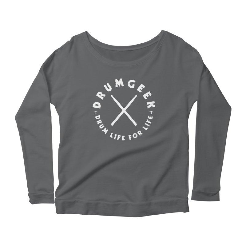 Drum Geek DLFL Logo 3 (White) Women's Scoop Neck Longsleeve T-Shirt by Drum Geek Online Shop