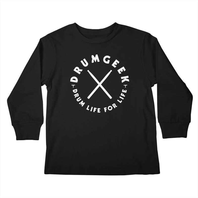 Drum Geek DLFL Logo 3 (White) Kids Longsleeve T-Shirt by Drum Geek Online Shop