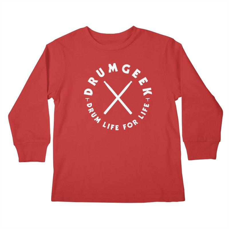Drum Geek DLFL Logo 3 (White) Kids Longsleeve T-Shirt by Drum Geek Online Shop
