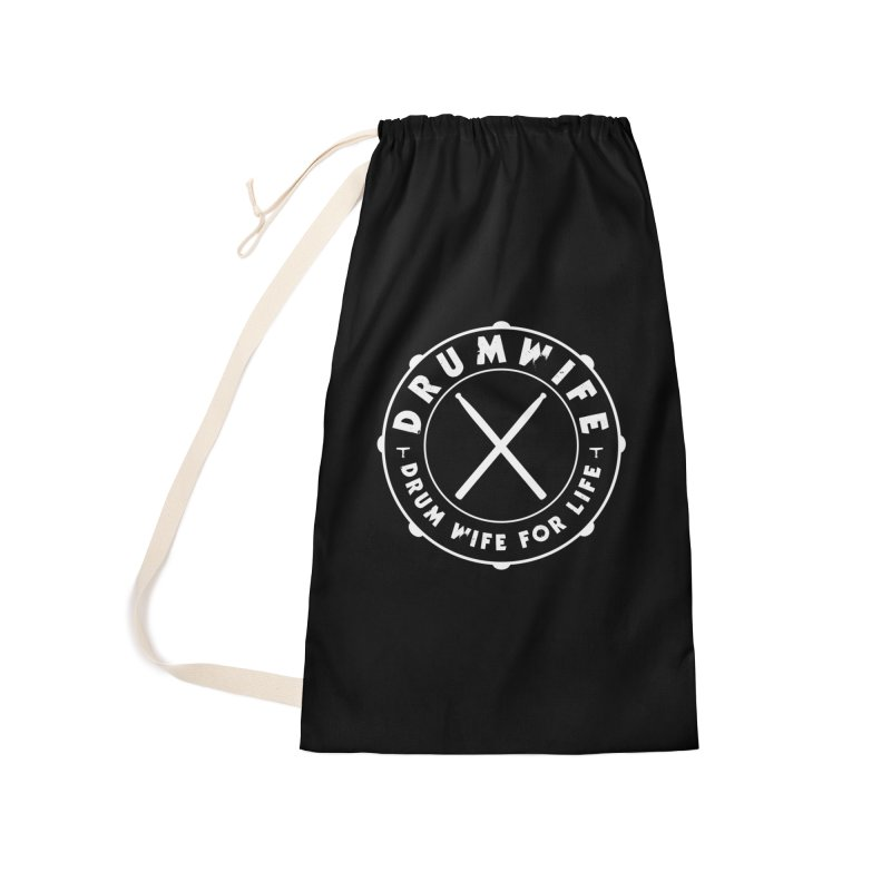 Drum Wife - White Logo Accessories Laundry Bag Bag by Drum Geek Online Shop