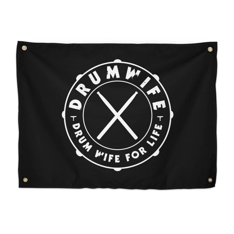 Drum Wife - White Logo Home Tapestry by Drum Geek Online Shop