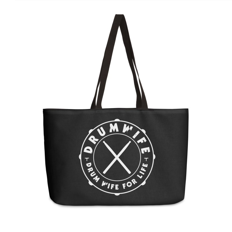 Drum Wife - White Logo Accessories Weekender Bag Bag by Drum Geek Online Shop