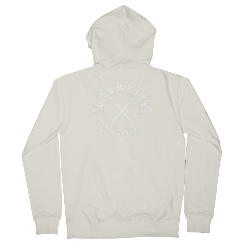 Drum Wife (White) Women's French Terry Zip-Up Hoody by Drum Geek Online Shop