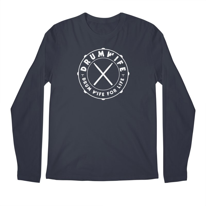 Drum Wife - White Logo Men's Longsleeve T-Shirt by Drum Geek Online Shop