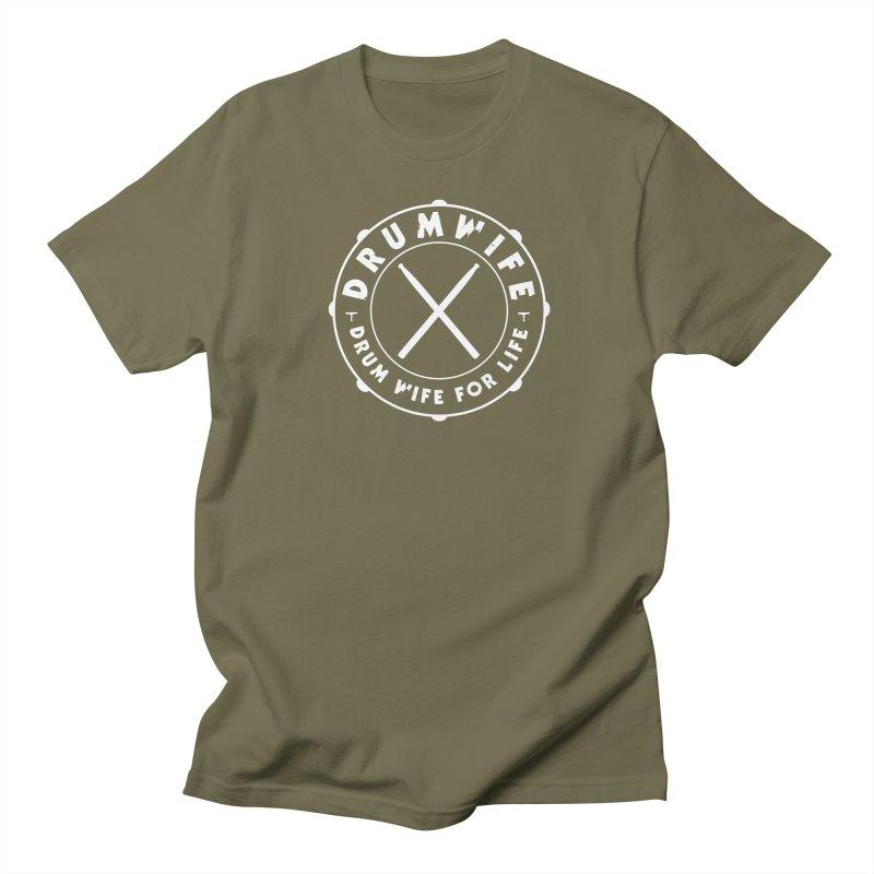 Drum Wife - White Logo Men's T-Shirt by Drum Geek Online Shop
