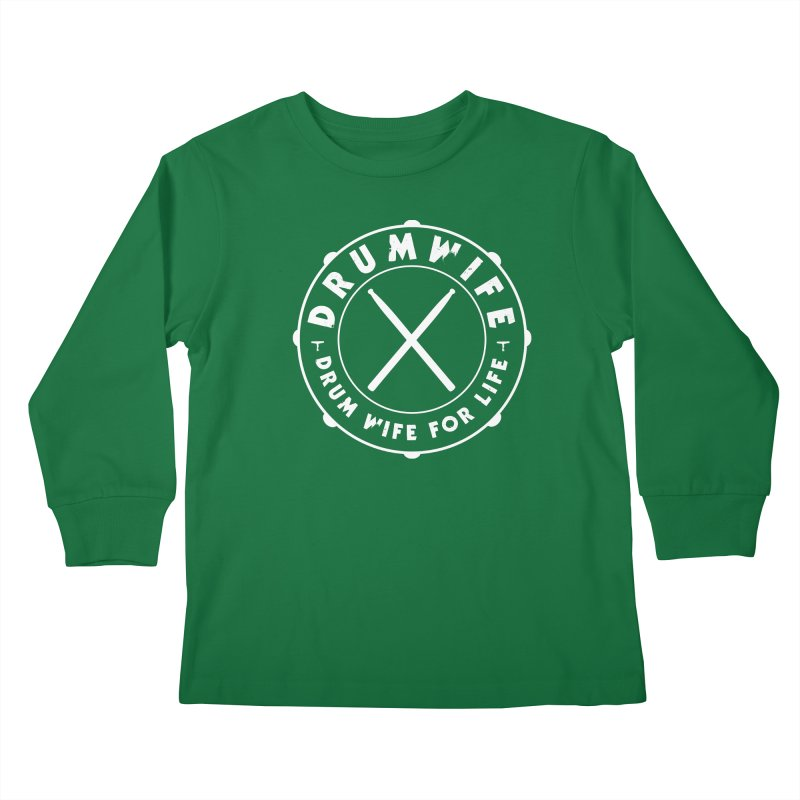 Drum Wife (White) Kids Longsleeve T-Shirt by Drum Geek Online Shop