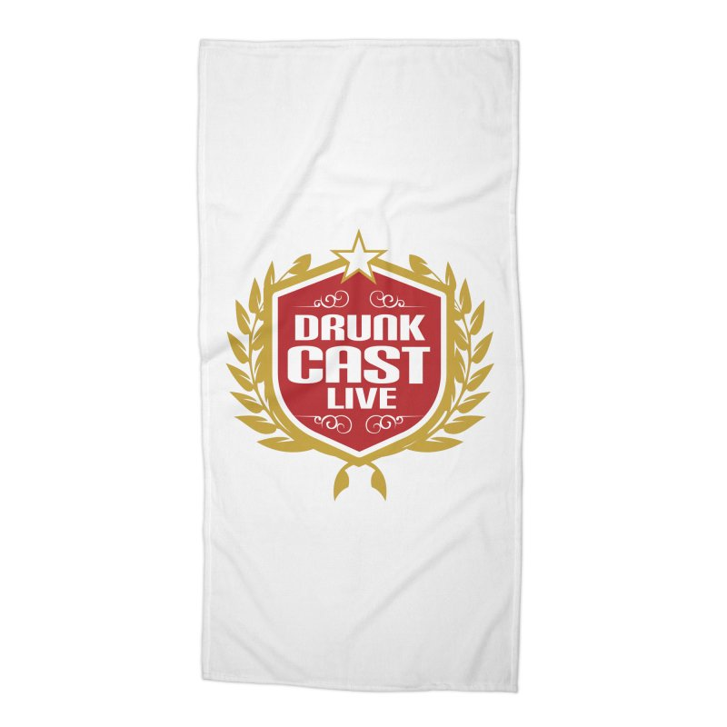 DrunkCast: Live! Logo Accessories Beach Towel by Content Pending - DrunkCast Live! Store