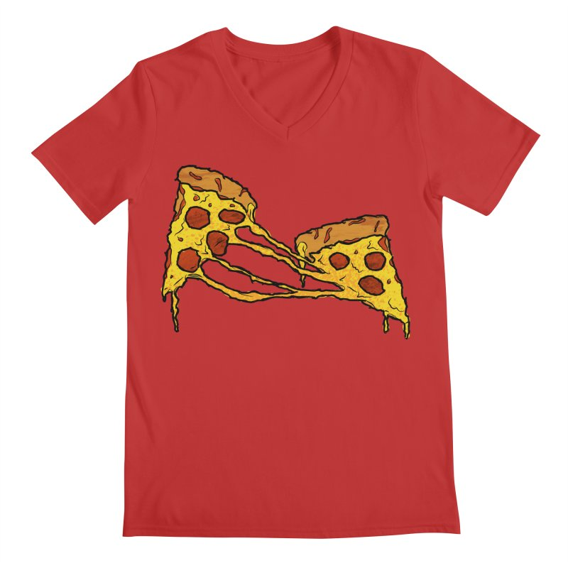 Gooey Pizza Slices Men's Regular V-Neck by DTM Creative