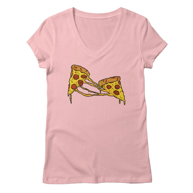 Gooey Pizza Slices Women's Regular V-Neck by DTM Creative