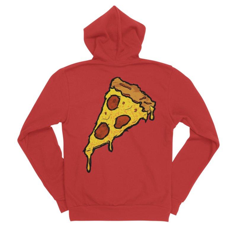 Gooey Pizza Slice Men's Sponge Fleece Zip-Up Hoody by DTM Creative