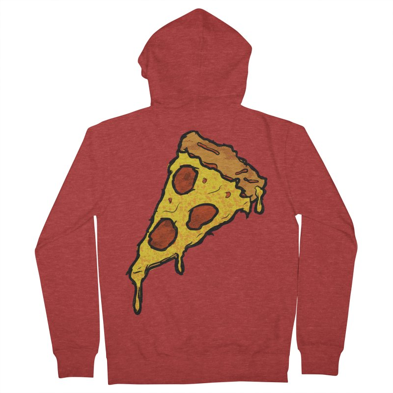 Gooey Pizza Slice Men's French Terry Zip-Up Hoody by DTM Creative