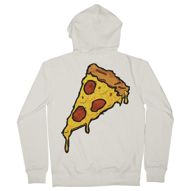 Gooey Pizza Slice Men's French Terry Zip-Up Hoody by DTM Creative
