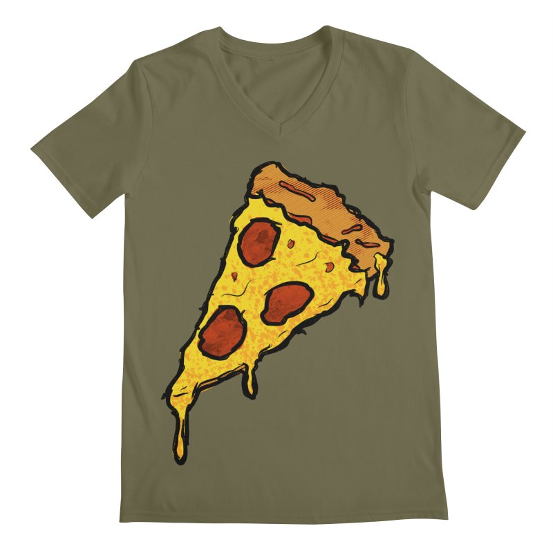 Gooey Pizza Slice Men's Regular V-Neck by DTM Creative