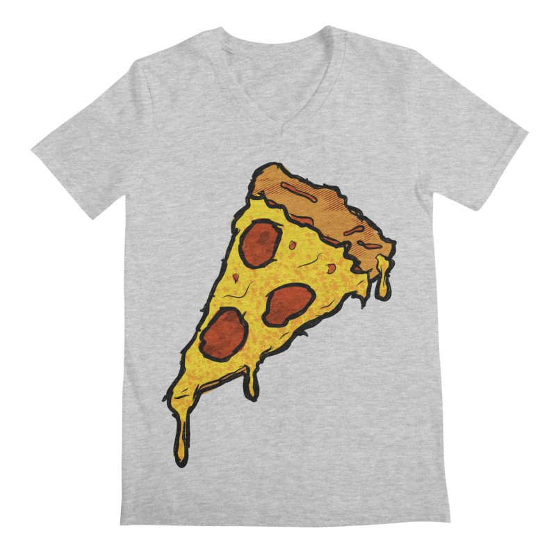 Gooey Pizza Slice Men's Regular V-Neck by DTM Creative