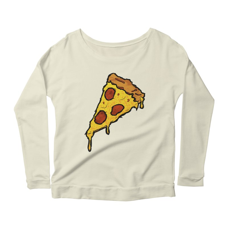 Gooey Pizza Slice Women's Scoop Neck Longsleeve T-Shirt by DTM Creative