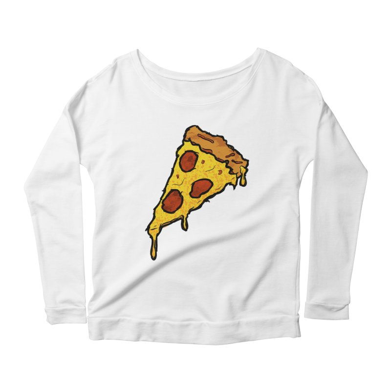 Gooey Pizza Slice Women's Scoop Neck Longsleeve T-Shirt by DTM Creative