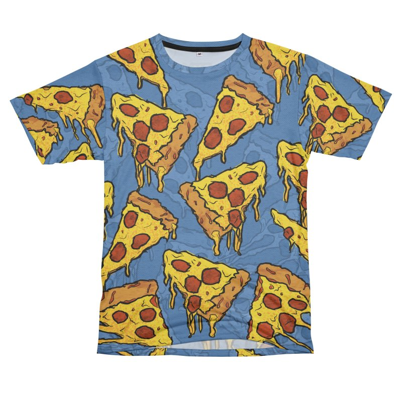 Gooey Pizza Pattern Women's Unisex French Terry T-Shirt Cut & Sew by DTM Creative