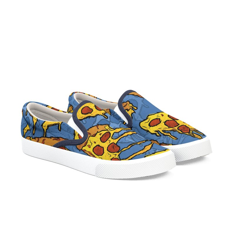 Gooey Pizza Pattern Women's Slip-On Shoes by DTM Creative