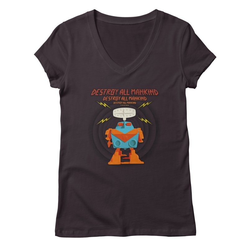 Robott Women's V-Neck by dudesign's Artist Shop
