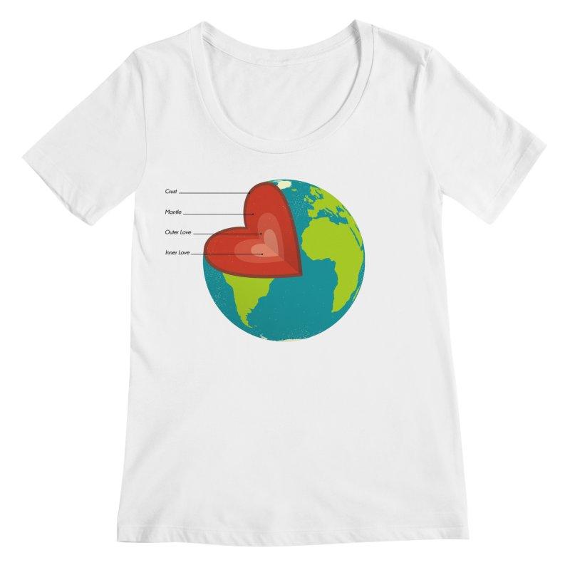 Love Earth Women's Scoopneck by dudesign's Artist Shop