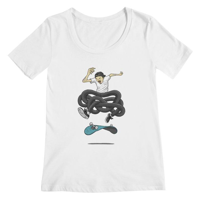 Gnarly Skater Women's Regular Scoop Neck by dukenny's Artist Shop