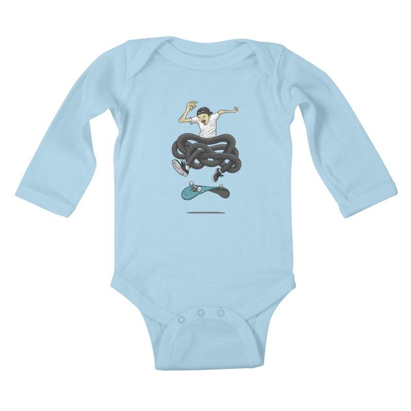 Gnarly Skater Kids Baby Longsleeve Bodysuit by dukenny's Artist Shop