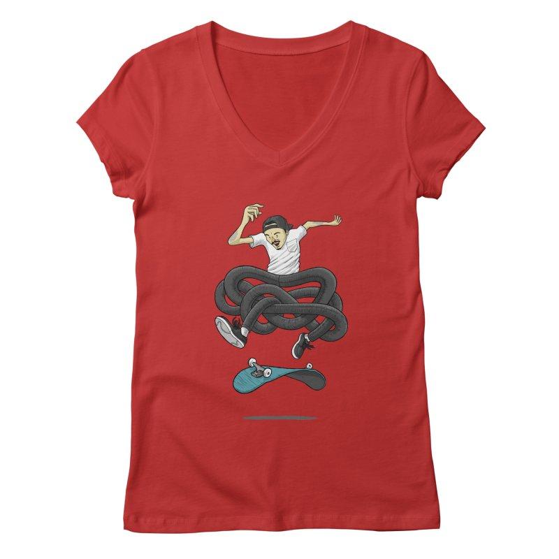 Gnarly Skater Women's Regular V-Neck by dukenny's Artist Shop