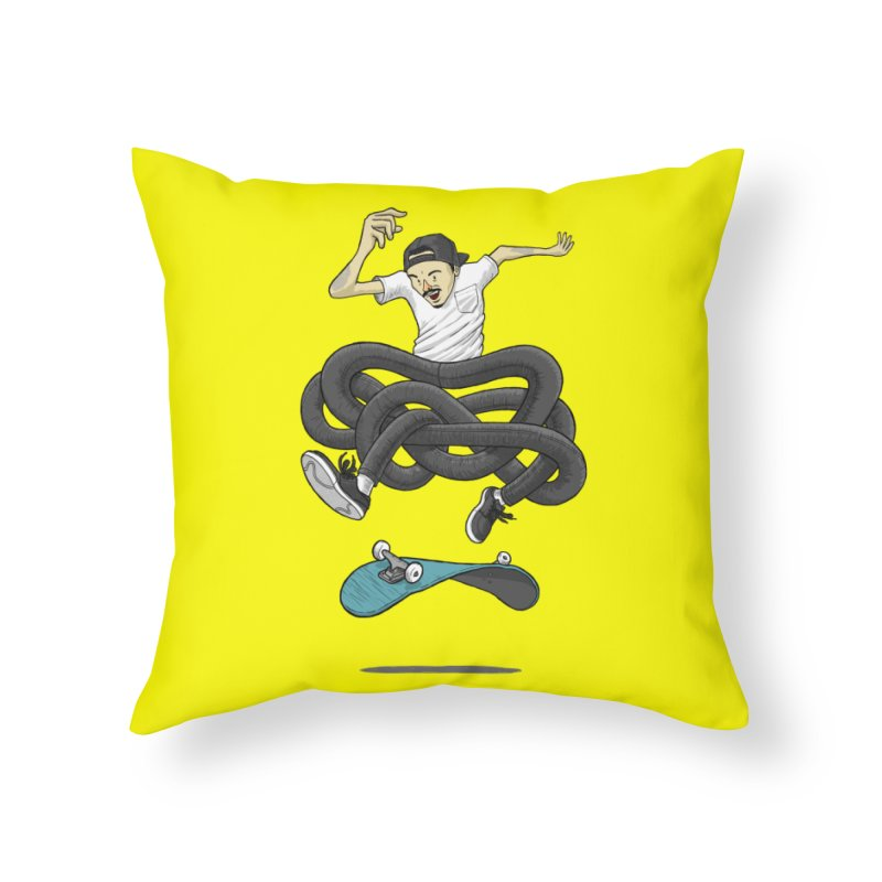 Gnarly Skater Home Throw Pillow by dukenny's Artist Shop