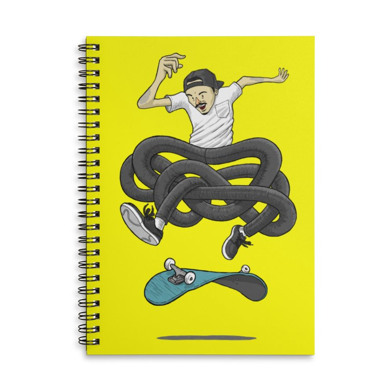 Gnarly Skater Accessories Lined Spiral Notebook by dukenny's Artist Shop