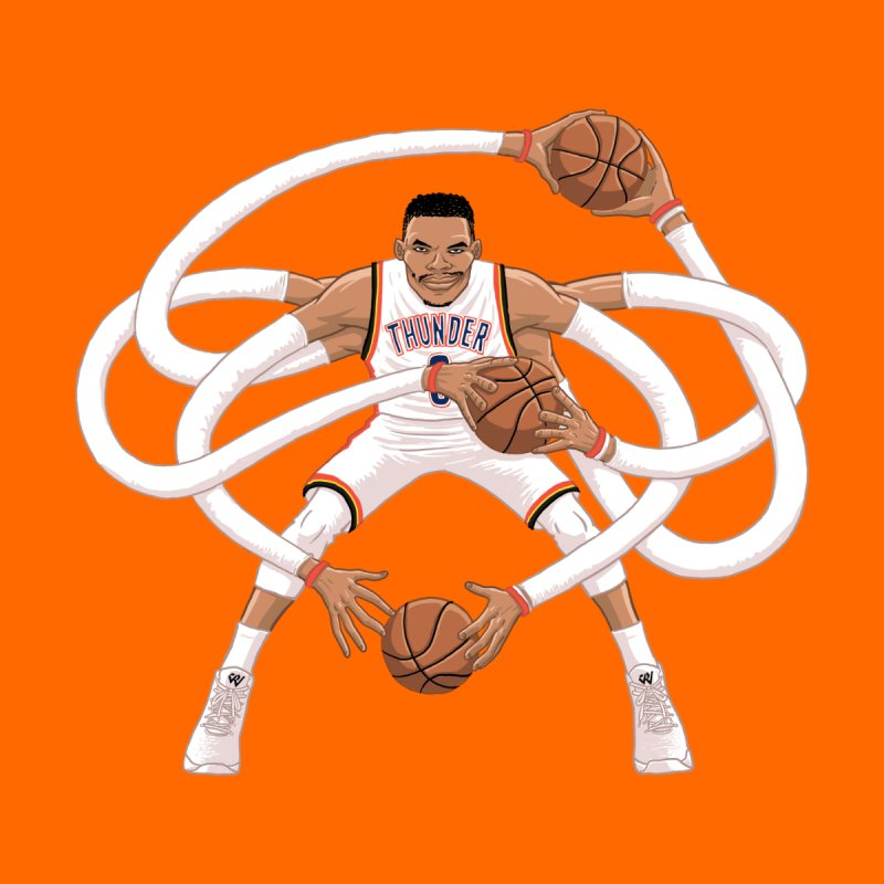 "Russell ""Mr. Triple Double"" Westbrook - Home kit Men's T-Shirt by dukenny's Artist Shop"