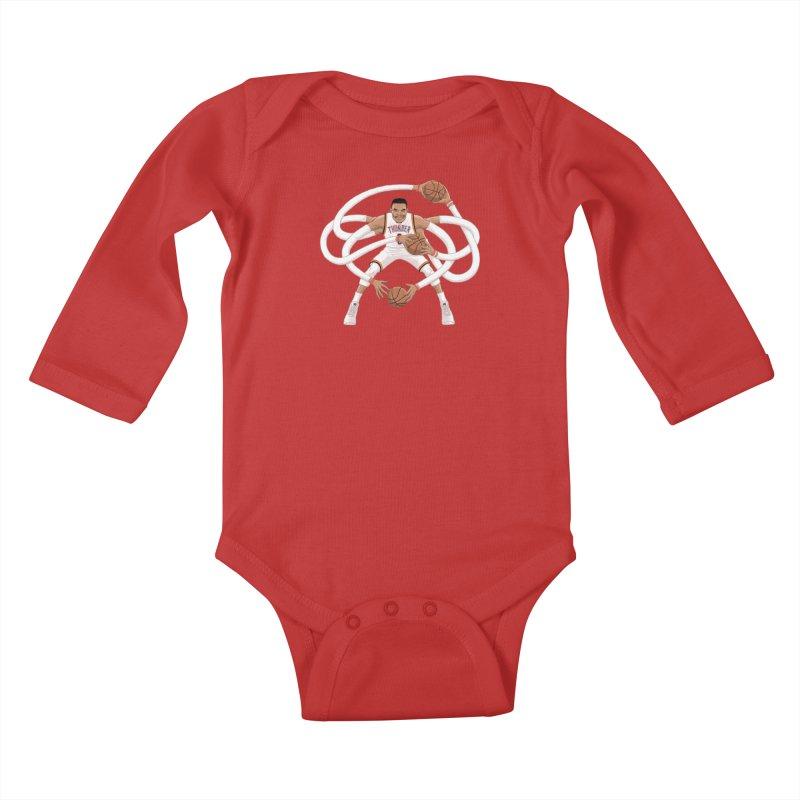 """Russell """"Mr. Triple Double"""" Westbrook - Home kit Kids Baby Longsleeve Bodysuit by dukenny's Artist Shop"""