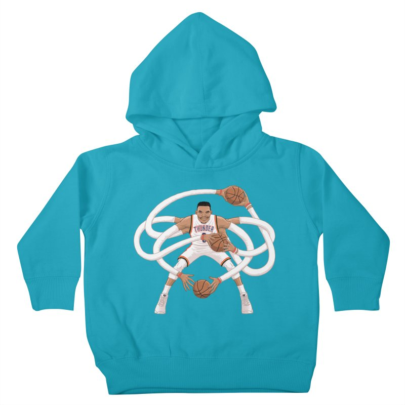 """Russell """"Mr. Triple Double"""" Westbrook - Home kit Kids Toddler Pullover Hoody by dukenny's Artist Shop"""