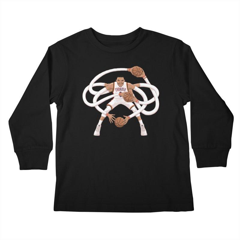 """Russell """"Mr. Triple Double"""" Westbrook - Home kit Kids Longsleeve T-Shirt by dukenny's Artist Shop"""
