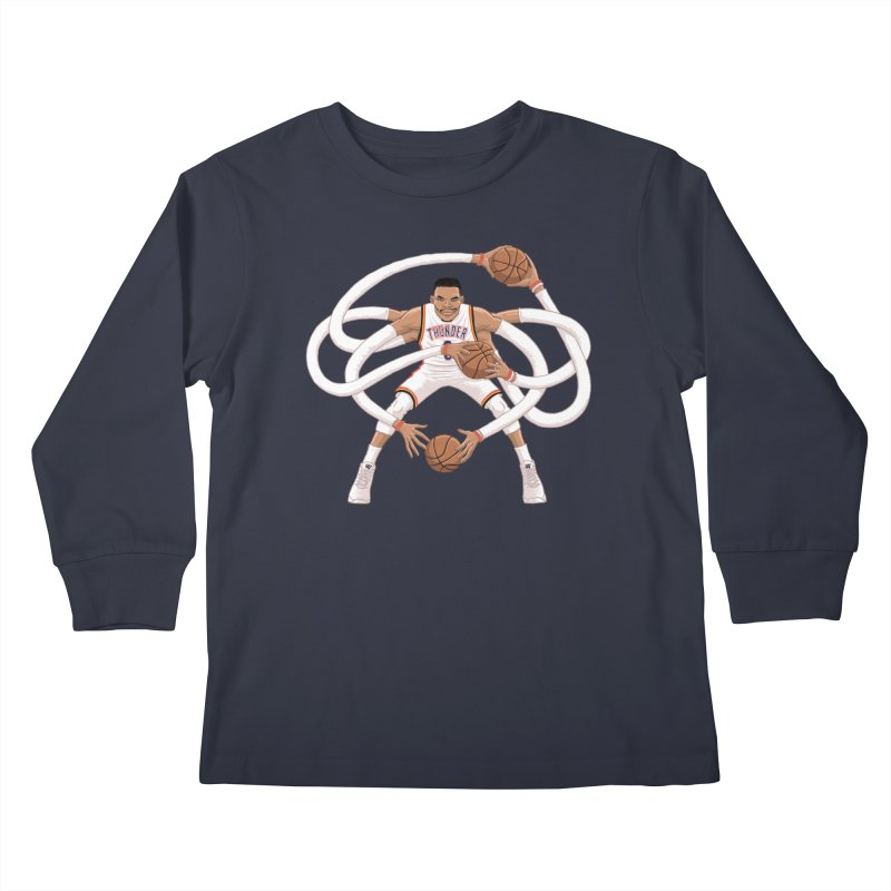 "Russell ""Mr. Triple Double"" Westbrook - Home kit Kids Longsleeve T-Shirt by dukenny's Artist Shop"