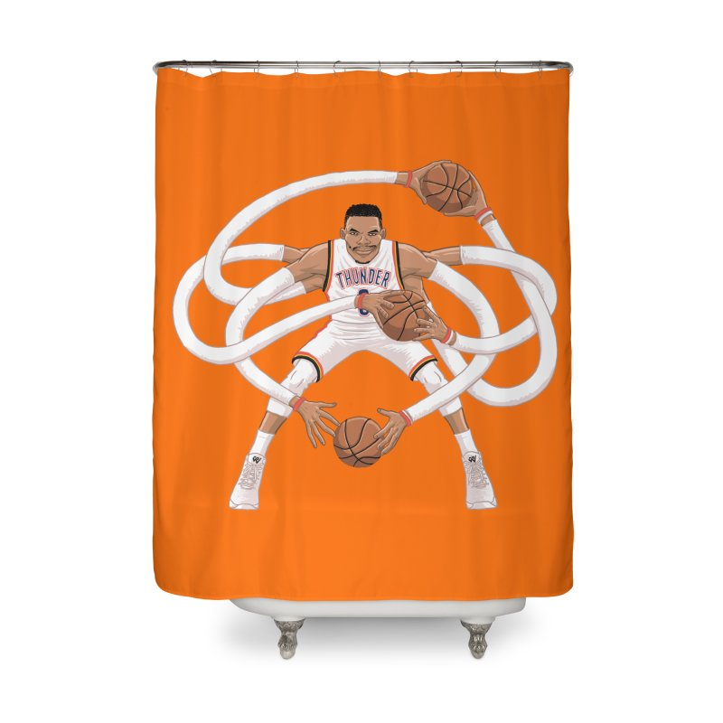 "Russell ""Mr. Triple Double"" Westbrook - Home kit Home Shower Curtain by dukenny's Artist Shop"