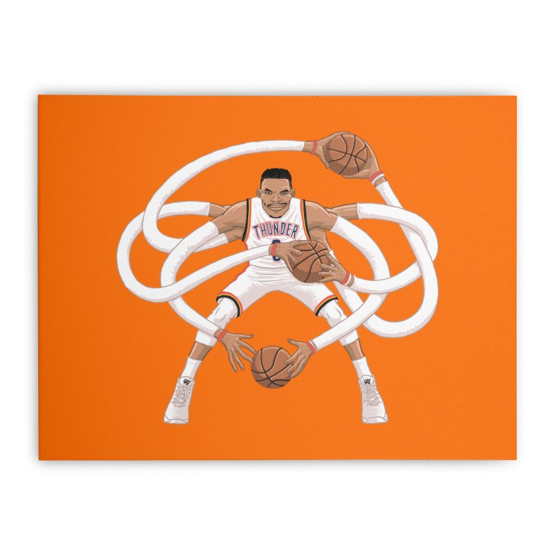 "Russell ""Mr. Triple Double"" Westbrook - Home kit Home Stretched Canvas by dukenny's Artist Shop"