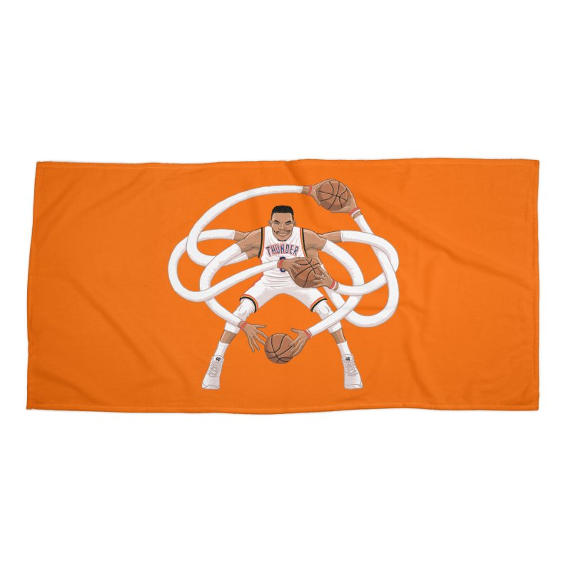 "Russell ""Mr. Triple Double"" Westbrook - Home kit Accessories Beach Towel by dukenny's Artist Shop"