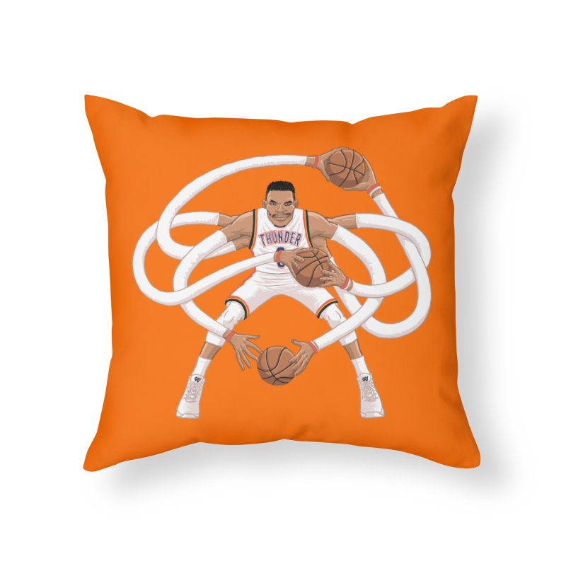 "Russell ""Mr. Triple Double"" Westbrook - Home kit Home Throw Pillow by dukenny's Artist Shop"